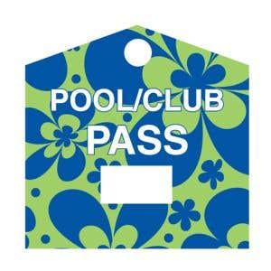 Pool Pass - Blue and Green Flowers - Blank