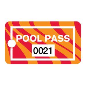Pool Pass - Orange Swirl - Rectangular