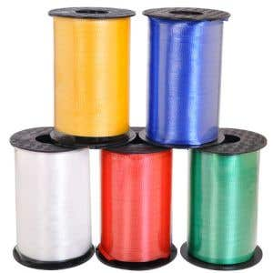 Assorted Kit includes 1 spool each of Blue, Red, Green, Yellow and White Ribbon.
