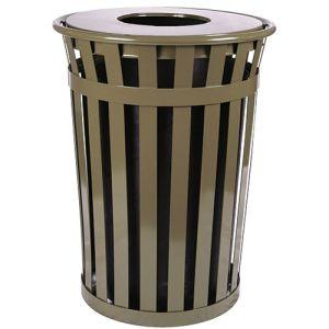 Steel Trash Cans - 36 Gallon - Wide Slat Flat Lid