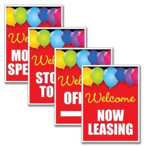 SOLD OUT - Vertical Bandit Signs - Red Balloons