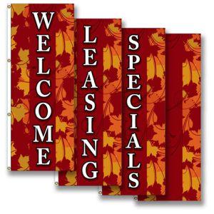 Vertical Flags - Elegant Fall Leaves