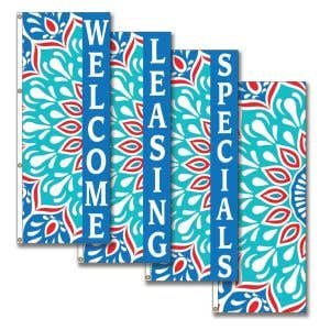 Vertical Flags - Floral Pattern