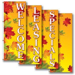 Vertical Flags - Autumn Leaves - Golden