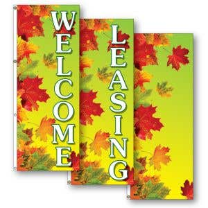 Vertical Flags - Autumn Leaves - Green