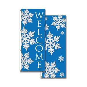 Vertical Holiday Flags - Triple Snowflake