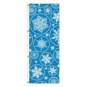 Vertical Holiday Flags - Falling Snowflakes