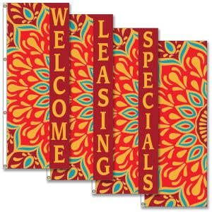 Vertical Flags - Fall Floral Pattern
