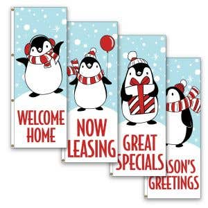 Vertical Flags - Holiday Penguins