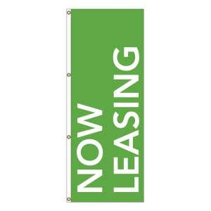 Vertical Message Flag - White on Lime
