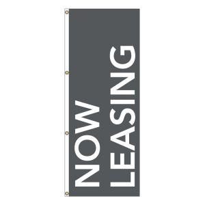 Vertical Message Flag - White on Gray