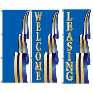 3D Vertical Flags - Blue Ribbon