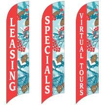 Holiday Wave Flags - Snowy Branches