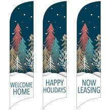 Holiday Wave Flags - Snow Forest