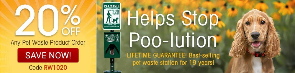 Helps stop poo-lution. Lifetime guarantee. Best selling pet waste station for 19 years.