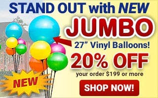 New Jumbo Vinyl Balloons 20% Off