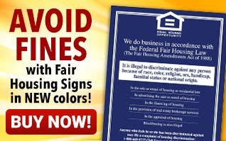 AVOID FINES with Fair Housing Signs - NEW colors!