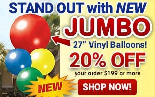 "New JUMBO 27"" Vinyl Balloons - 20% Off $199+ Orders"