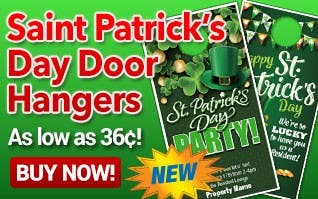 St. Patrick's Day Door Hangers As low as $0.36 each!