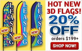 Hot New 3D Flags 20% Off