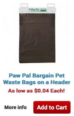 Paw Pal Bargain Pet Waste Bags on a Header. As low as $0.04 Each! More info Add to Cart
