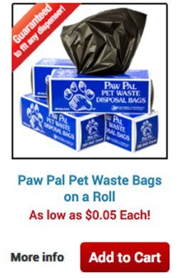 Paw Pal Pet Waste Bags on a Roll. As low as $0.05 Each! More info • Add to Cart